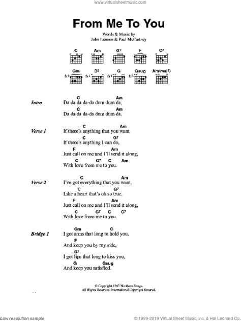 Beatles - From Me To You sheet music for guitar (chords) [PDF]