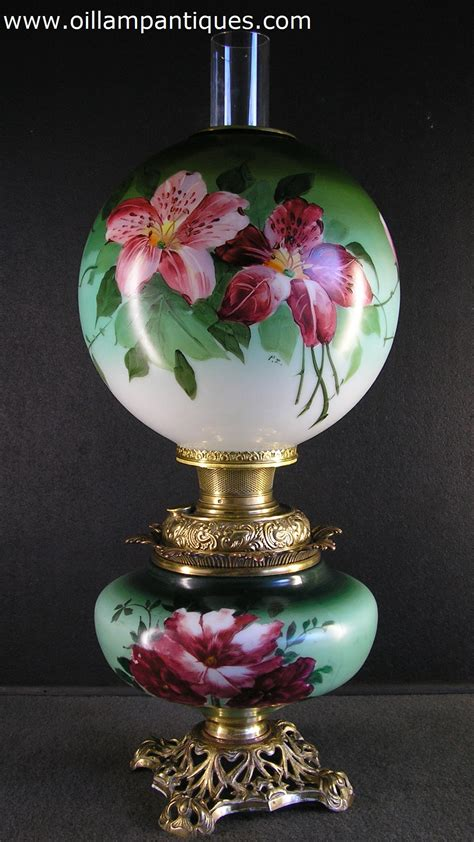 Hand Painted Vase Lamp (Marriage) - Oil Lamp Antiques