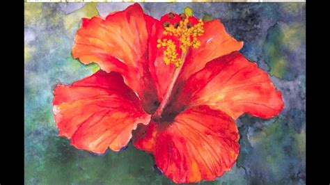Hibiscus flower watercolor tutorial, an easy and fun