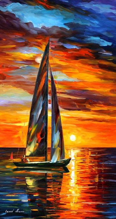 Sailing With The Sun — PALETTE KNIFE Seascape Oil Painting