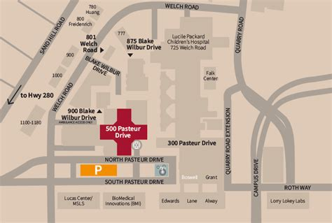 Locations and Parking: Stanford Hospital at 500 Pasteur