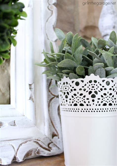White and Green Spring Mantel - Spring Decorating Ideas