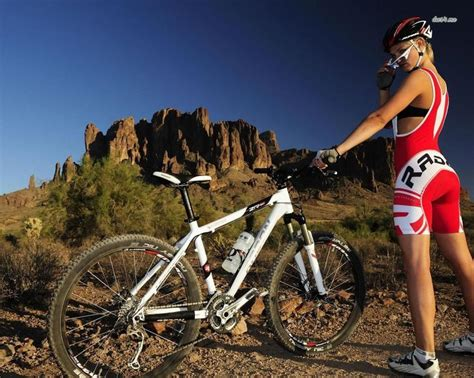 Wallpapers Mtb Woman With Mountain Bike Sport 1280x1024